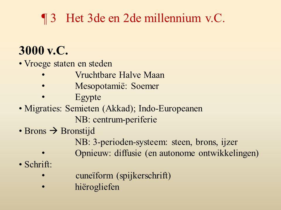 3000 v.C. Vroege staten en steden Vruchtbare Halve Maan Mesopotamië: Soemer Egypte Migraties: Semieten (Akkad); Indo-Europeanen NB: centrum-periferie