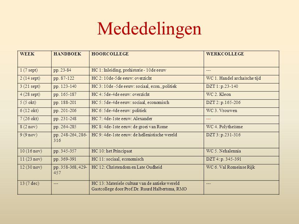 Mededelingen WEEKHANDBOEKHOORCOLLEGEWERKCOLLEGE 1 (7 sept)pp. 23-84HC 1: Inleiding, prehistorie - 10de eeuw--- 2 (14 sept)pp. 87-122HC 2: 10de-5de eeu