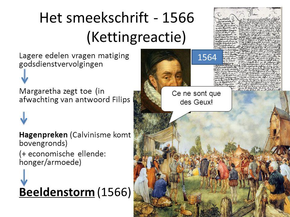 Het smeekschrift - 1566 (Kettingreactie) Lagere edelen vragen matiging godsdienstvervolgingen Margaretha zegt toe (in afwachting van antwoord Filips I
