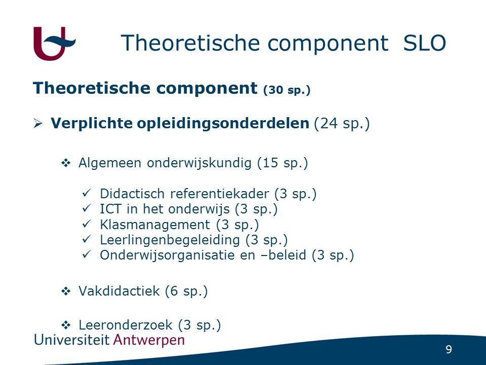 9 Theoretische component SLO Theoretische component (30 sp.)  Verplichte opleidingsonderdelen (24 sp.)  Algemeen onderwijskundig (15 sp.) Didactisch