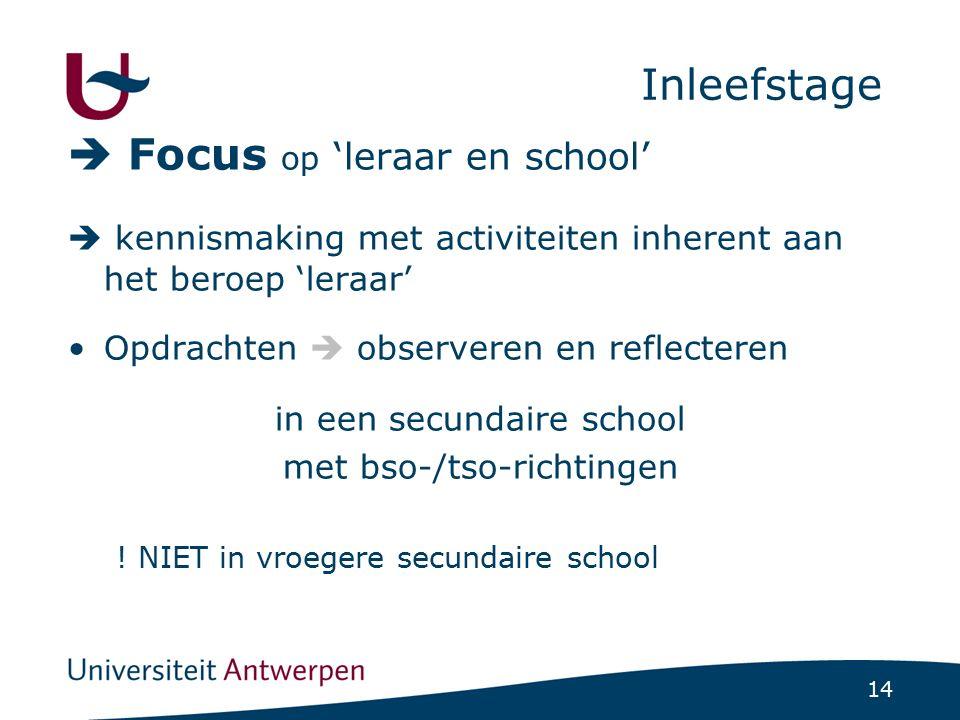 14 Inleefstage  Focus op 'leraar en school'  kennismaking met activiteiten inherent aan het beroep 'leraar' Opdrachten  observeren en reflecteren i