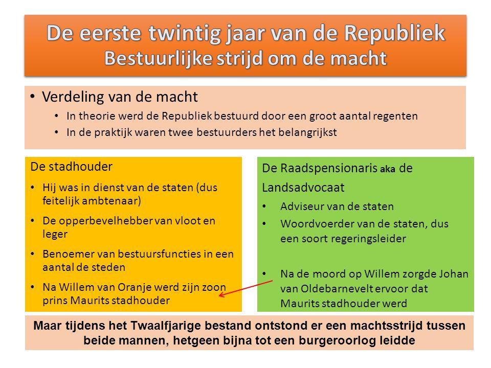 Landsadvocaat (raadpensionaris) Hoogste ambtenaar van Holland Leidde Hollandse afvaardiging in de Staten-Generaal Voorbeeld van conflict tussen stadhouder en gewest/raadspensionaris 13 mei 1619