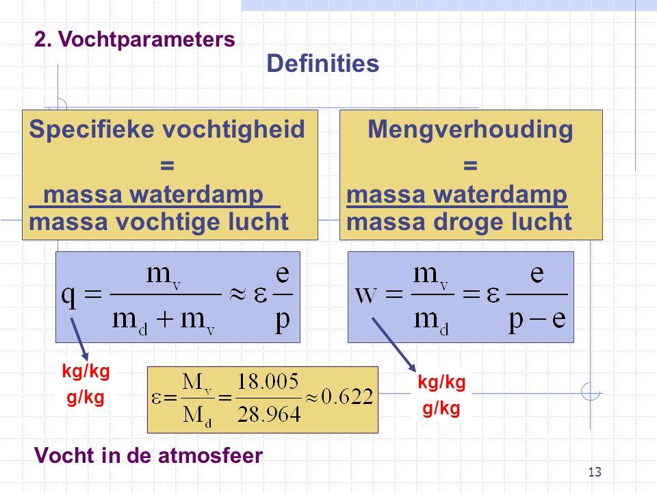 13 Vocht in de atmosfeer Definities 2. Vochtparameters Specifieke vochtigheid = massa waterdamp. massa vochtige lucht Mengverhouding = massa waterdamp