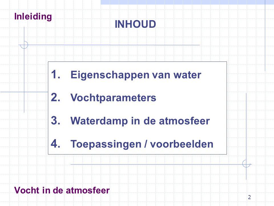2 Vocht in de atmosfeer INHOUD Inleiding 1. Eigenschappen van water 2. Vochtparameters 3. Waterdamp in de atmosfeer 4. Toepassingen / voorbeelden