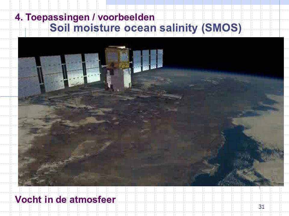 31 Vocht in de atmosfeer Soil moisture ocean salinity (SMOS) 4. Toepassingen / voorbeelden