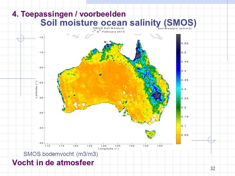 32 Vocht in de atmosfeer 4. Toepassingen / voorbeelden Soil moisture ocean salinity (SMOS) SMOS bodemvocht (m3/m3)