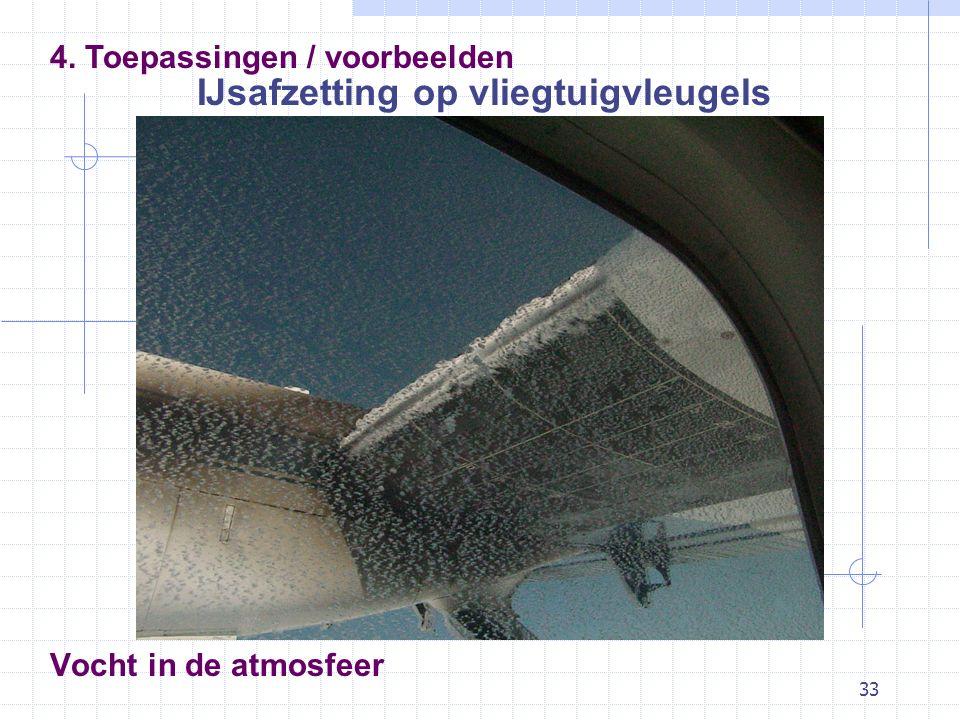 33 Vocht in de atmosfeer IJsafzetting op vliegtuigvleugels 4. Toepassingen / voorbeelden