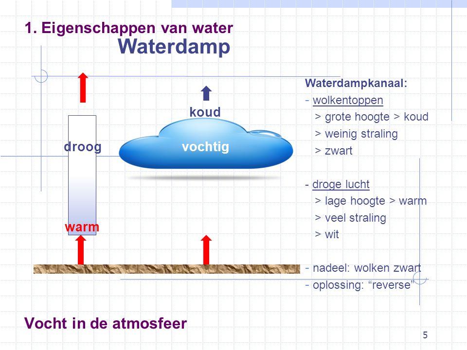 5 Waterdamp 1. Eigenschappen van water Waterdampkanaal: - wolkentoppen > grote hoogte > koud > weinig straling > zwart - droge lucht > lage hoogte > w