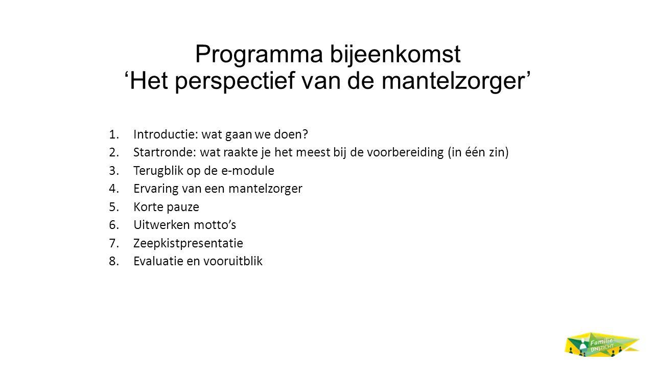 Programma bijeenkomst 'Het perspectief van de mantelzorger' 1.Introductie: wat gaan we doen.