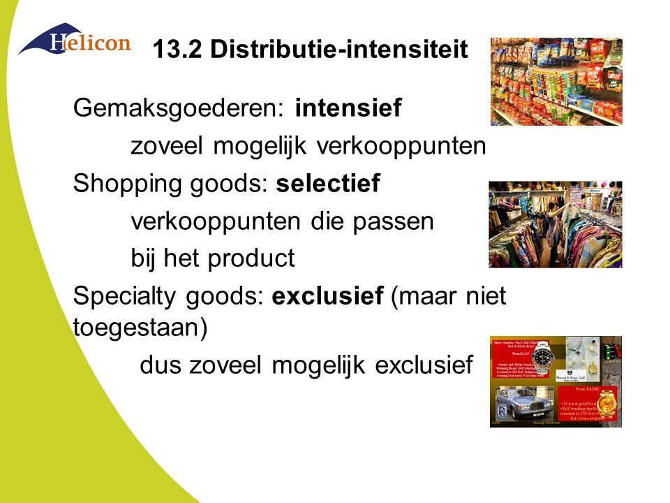 13.2 Distributie-intensiteit Gemaksgoederen: intensief zoveel mogelijk verkooppunten Shopping goods: selectief verkooppunten die passen bij het produc