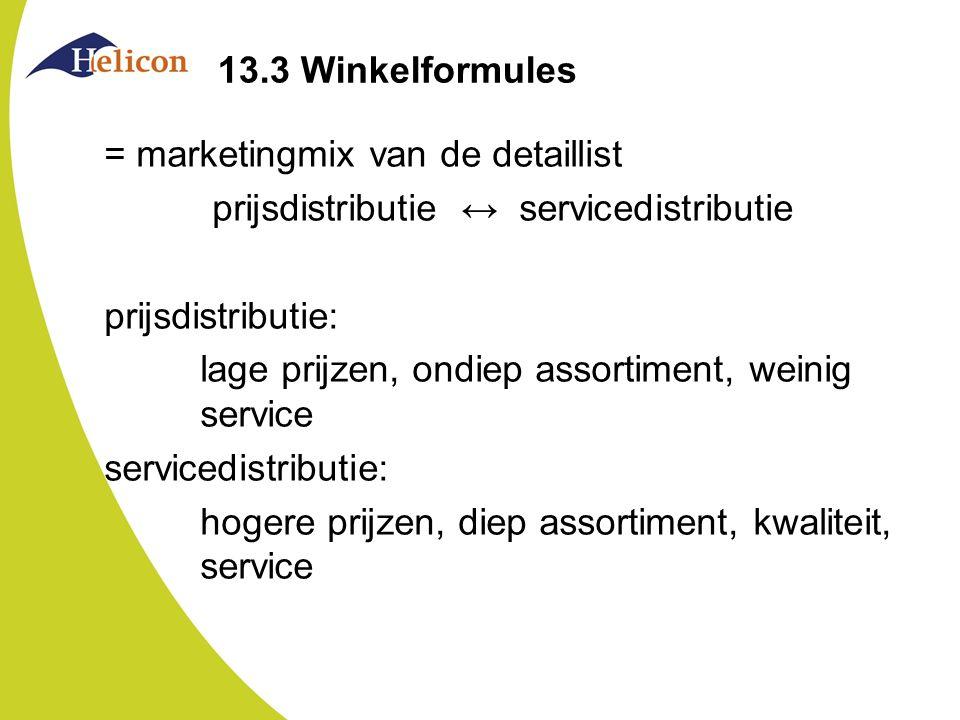 13.3 Winkelformules = marketingmix van de detaillist prijsdistributie ↔ servicedistributie prijsdistributie: lage prijzen, ondiep assortiment, weinig