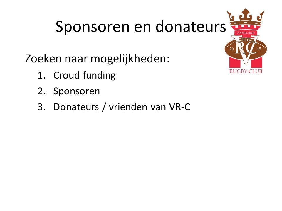 Sponsoren en donateurs Zoeken naar mogelijkheden: 1.Croud funding 2.Sponsoren 3.Donateurs / vrienden van VR-C