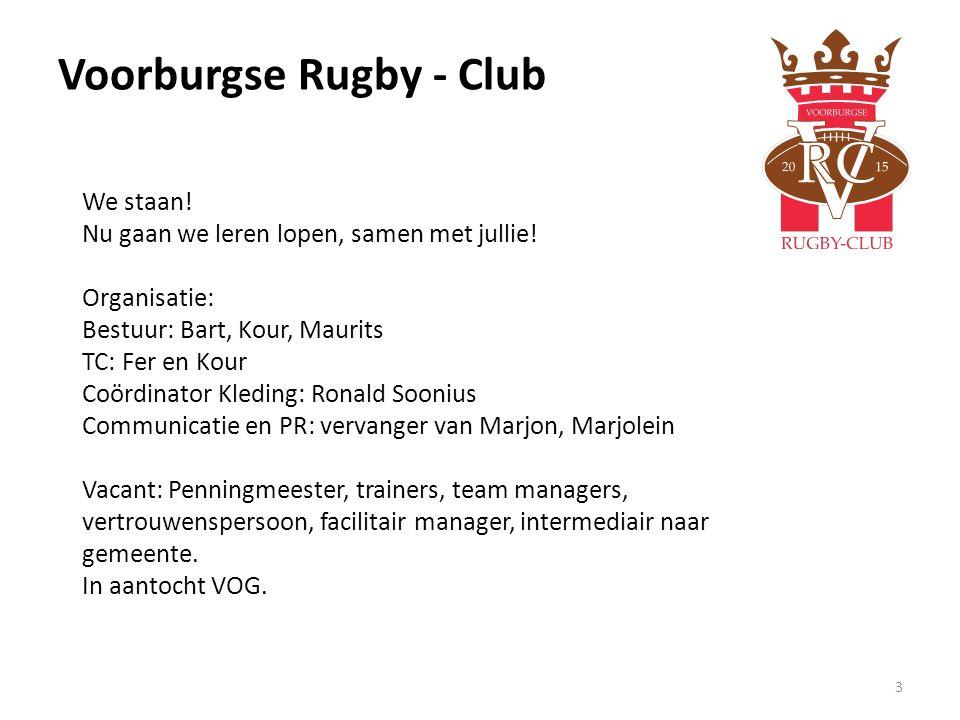 Voorburgse Rugby - Club 3 We staan! Nu gaan we leren lopen, samen met jullie! Organisatie: Bestuur: Bart, Kour, Maurits TC: Fer en Kour Coördinator Kl