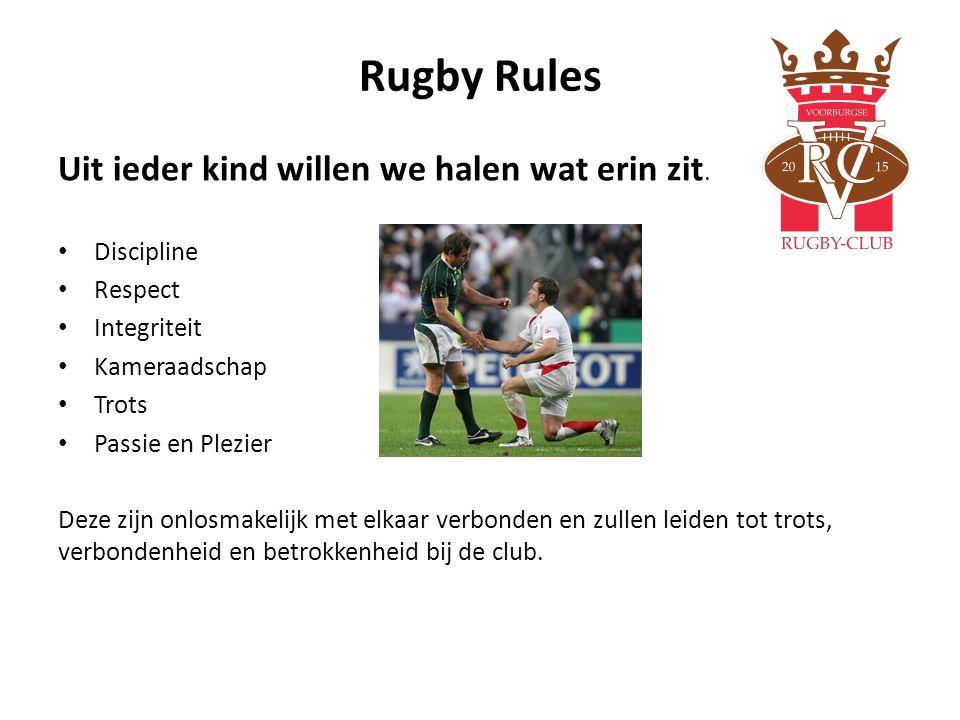 Rugby Rules Uit ieder kind willen we halen wat erin zit. Discipline Respect Integriteit Kameraadschap Trots Passie en Plezier Deze zijn onlosmakelijk