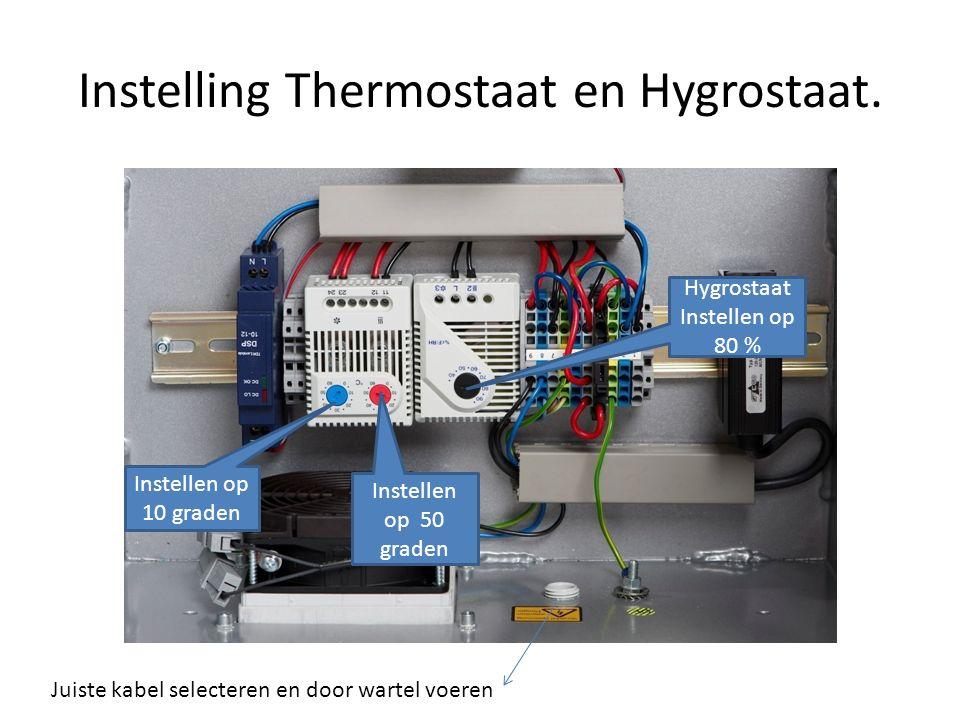 Instelling Thermostaat en Hygrostaat. Juiste kabel selecteren en door wartel voeren Instellen op 10 graden Instellen op 50 graden Hygrostaat Instellen