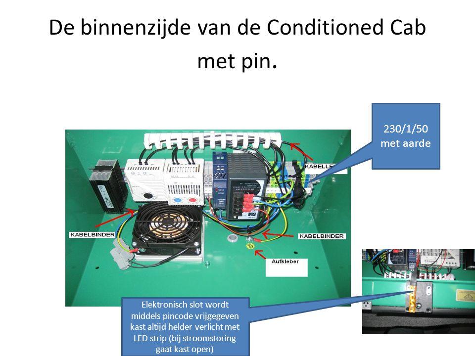 De binnenzijde van de Conditioned Cab met pin. 230/1/50 met aarde Elektronisch slot wordt middels pincode vrijgegeven kast altijd helder verlicht met