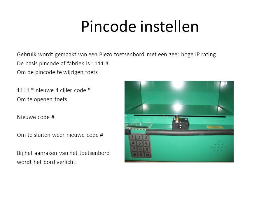 Pincode instellen Gebruik wordt gemaakt van een Piezo toetsenbord met een zeer hoge IP rating. De basis pincode af fabriek is 1111 # Om de pincode te