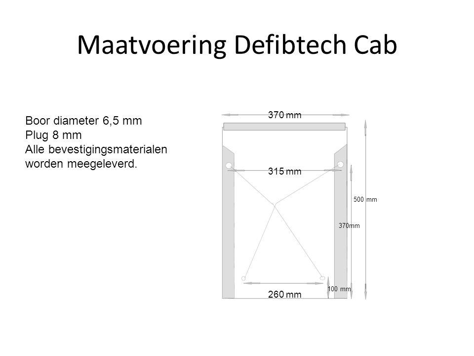 Maatvoering Defibtech Cab 315 mm 370 mm Boor diameter 6,5 mm Plug 8 mm Alle bevestigingsmaterialen worden meegeleverd. 260 mm 370mm 500 mm 100 mm