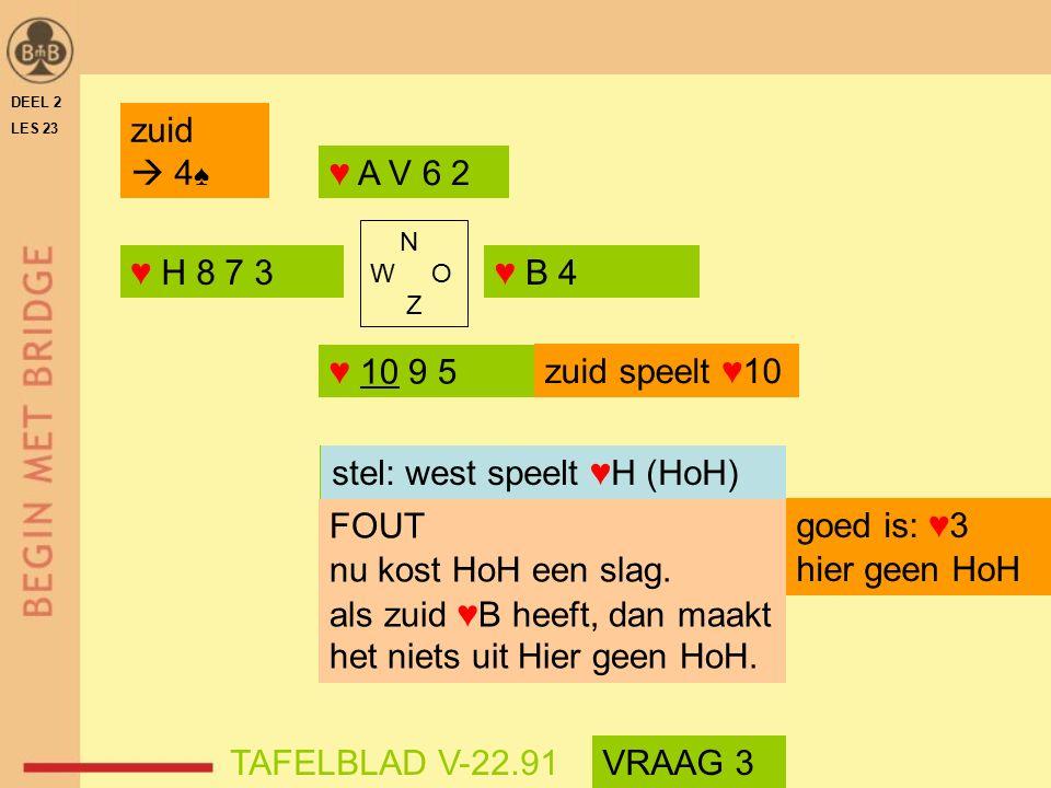 DEEL 2 LES 23 ♥ H 8 7 3♥ B 4 ♥ 10 9 5 ♥ A V 6 2 N W O Z FOUT nu kost HoH een slag.