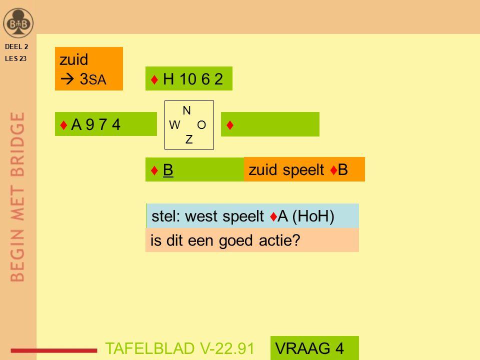 DEEL 2 LES 23 ♦ A 9 7 4♦ ♦ B ♦ H 10 6 2 N W O Z is dit een goed actie.