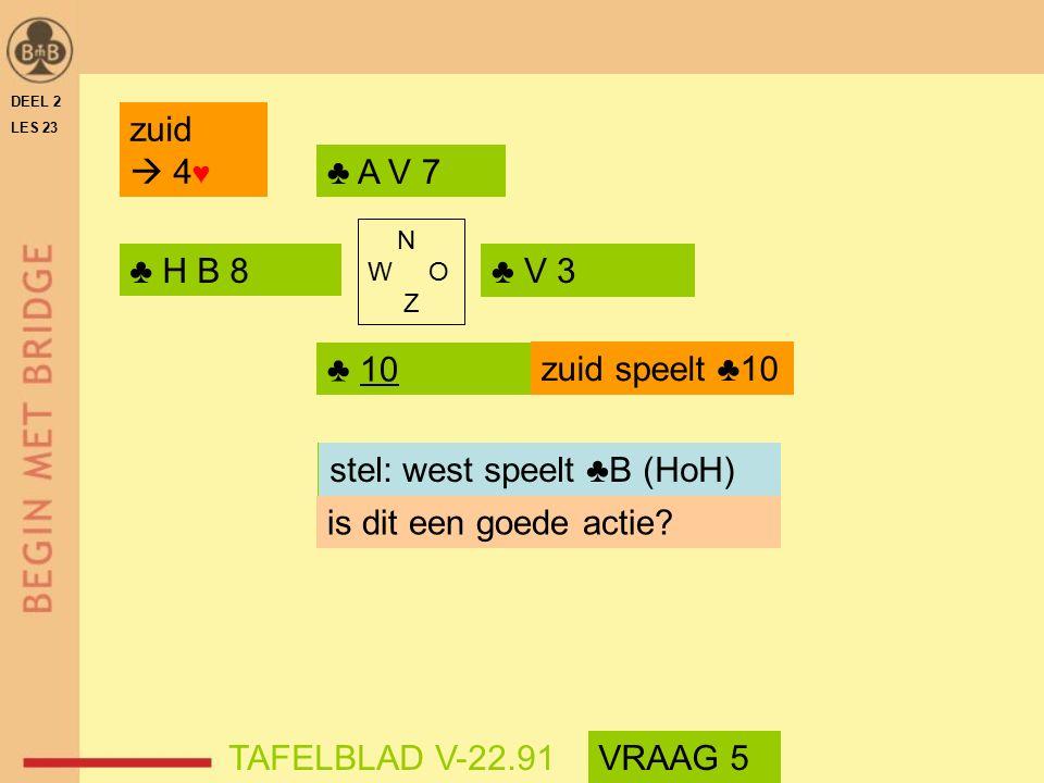 DEEL 2 LES 23 ♣ H B 8♣ V 3 ♣ 10 ♣ A V 7 N W O Z is dit een goede actie.