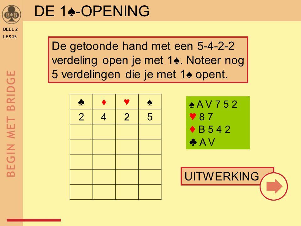 DE 1♠-OPENING ♣♦♥♠ 2425 UITWERKING De getoonde hand met een 5-4-2-2 verdeling open je met 1♠.