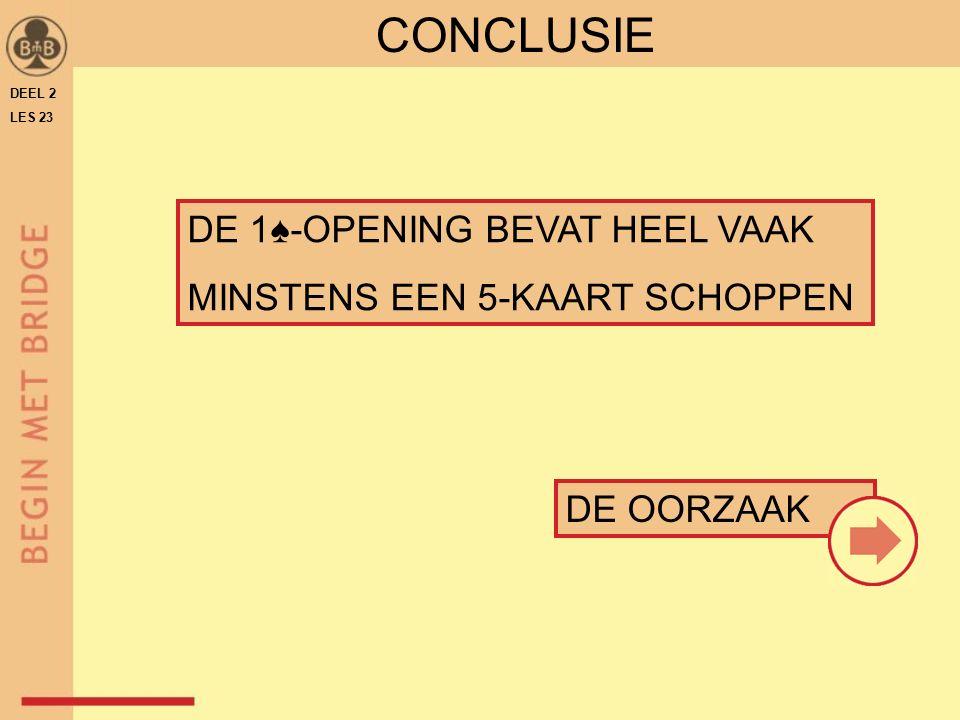 DE 1♠-OPENING BEVAT HEEL VAAK MINSTENS EEN 5-KAART SCHOPPEN DE OORZAAK CONCLUSIE DEEL 2 LES 23