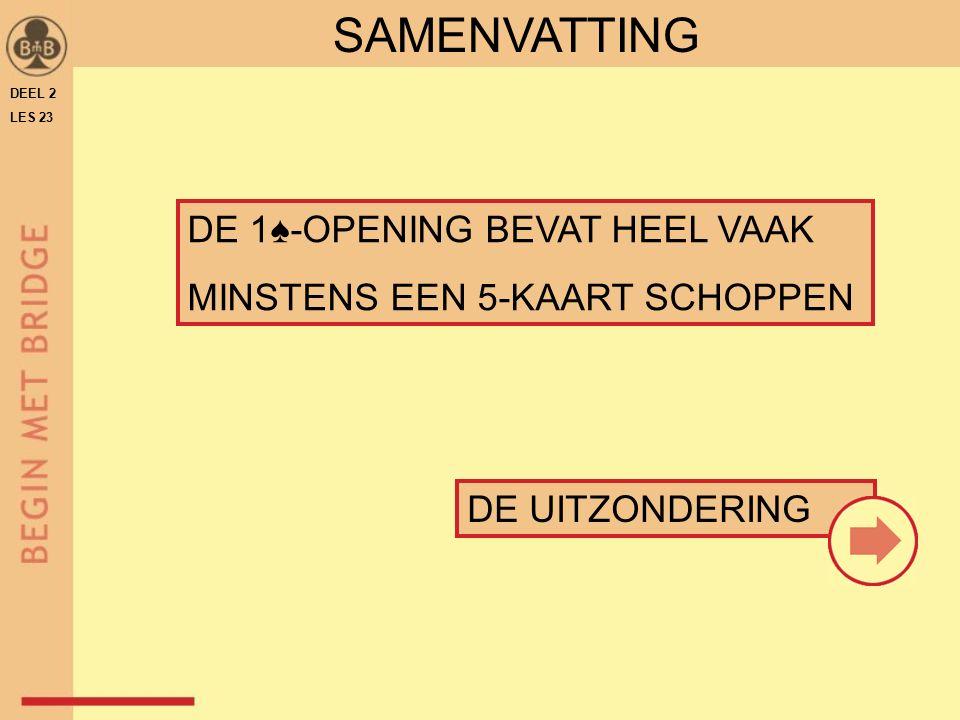 DE 1♠-OPENING BEVAT HEEL VAAK MINSTENS EEN 5-KAART SCHOPPEN DE UITZONDERING SAMENVATTING DEEL 2 LES 23