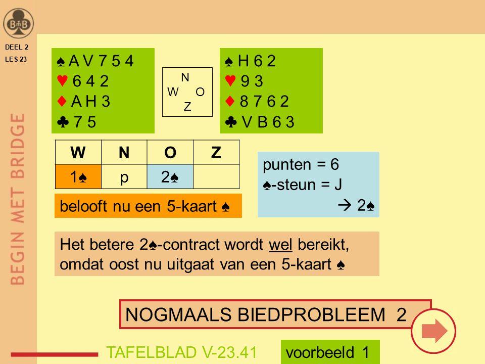 ♠ A V 7 5 4 ♥ 6 4 2 ♦ A H 3 ♣ 7 5 N W O Z ♠ H 6 2 ♥ 9 3 ♦ 8 7 6 2 ♣ V B 6 3 WNOZ 1♠p2♠ punten = 6 ♠-steun = J  2♠ belooft nu een 5-kaart ♠ Het betere 2♠-contract wordt wel bereikt, omdat oost nu uitgaat van een 5-kaart ♠ NOGMAALS BIEDPROBLEEM 2 voorbeeld 1TAFELBLAD V-23.41 DEEL 2 LES 23