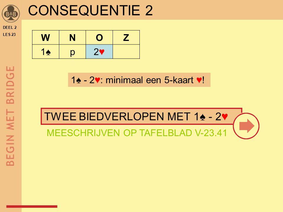 CONSEQUENTIE 2 WNOZ 1♠p2♥2♥ 1♠ - 2♥: minimaal een 5-kaart ♥.