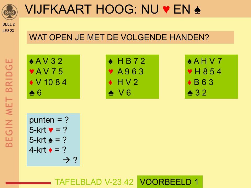 ♠ A V 3 2 ♥ A V 7 5 ♦ V 10 8 4 ♣ 6 ♠ H B 7 2 ♥ A 9 6 3 ♦ H V 2 ♣ V 6 punten = .