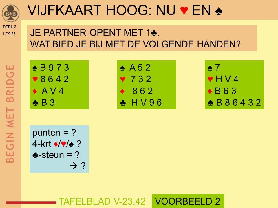 ♠ B 9 7 3 ♥ 8 6 4 2 ♦ A V 4 ♣ B 3 ♠ A 5 2 ♥ 7 3 2 ♦ 8 6 2 ♣ H V 9 6 punten = .