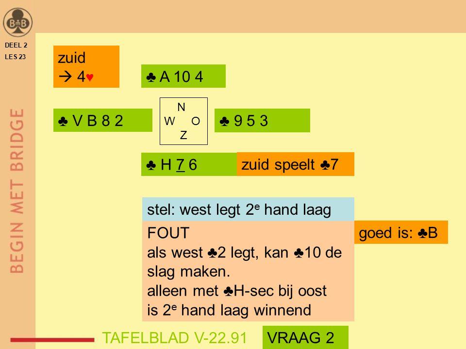 DEEL 2 LES 23 ♣ V B 8 2♣ 9 5 3 ♣ H 7 6 ♣ A 10 4 N W O Z zuid  4 ♥ TAFELBLAD V-22.91 zuid speelt ♣7 FOUT als west ♣2 legt, kan ♣10 de slag maken.