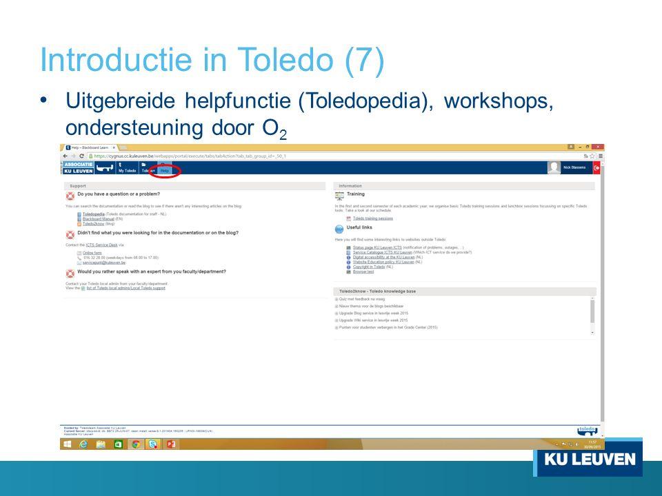 Introductie in Toledo (7) Uitgebreide helpfunctie (Toledopedia), workshops, ondersteuning door O 2