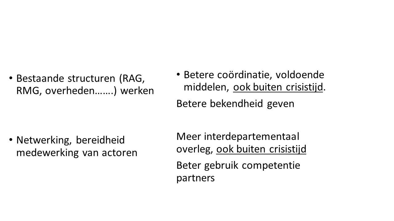 Bestaande structuren (RAG, RMG, overheden…….) werken Netwerking, bereidheid medewerking van actoren Betere coördinatie, voldoende middelen, ook buiten crisistijd.
