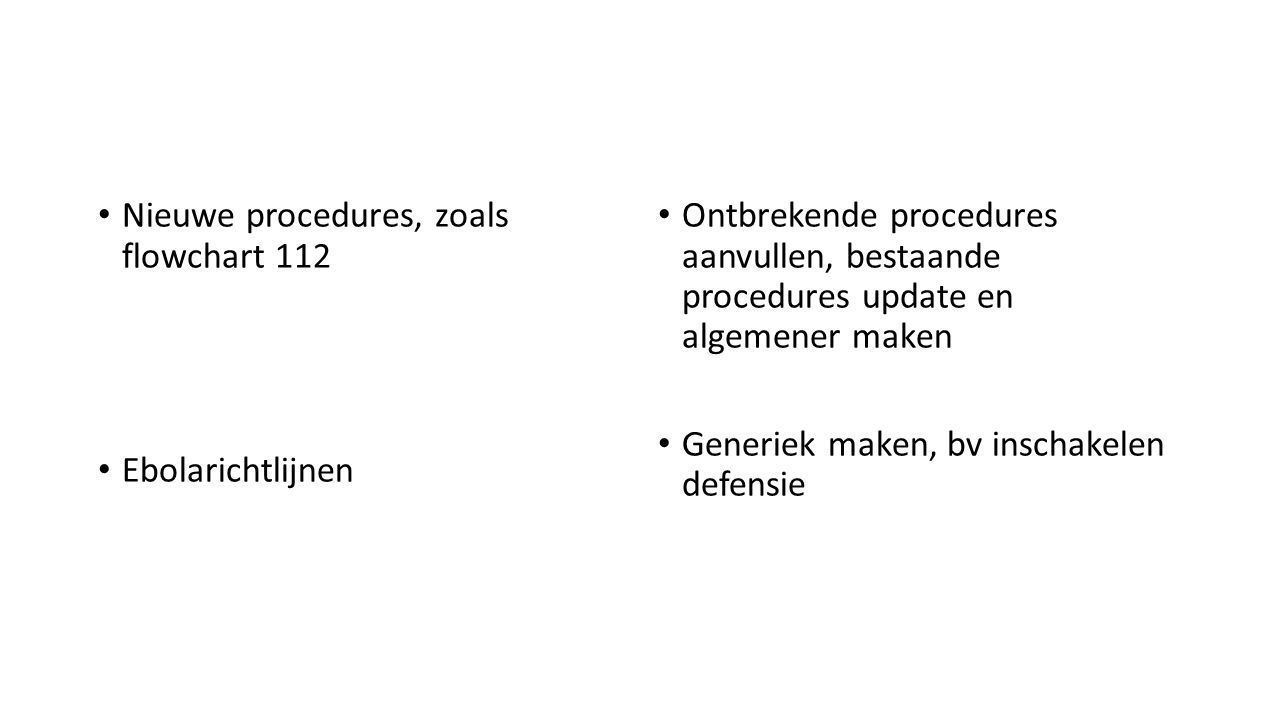 Nieuwe procedures, zoals flowchart 112 Ebolarichtlijnen Ontbrekende procedures aanvullen, bestaande procedures update en algemener maken Generiek make