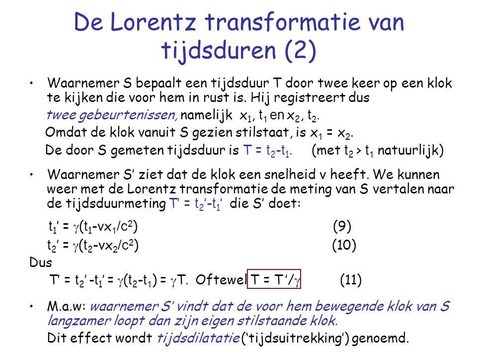 De Lorentz transformatie van tijdsduren (2) Waarnemer S bepaalt een tijdsduur T door twee keer op een klok te kijken die voor hem in rust is.