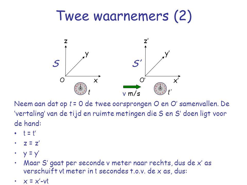 Twee waarnemers (2) Neem aan dat op t = 0 de twee oorsprongen O en O' samenvallen.