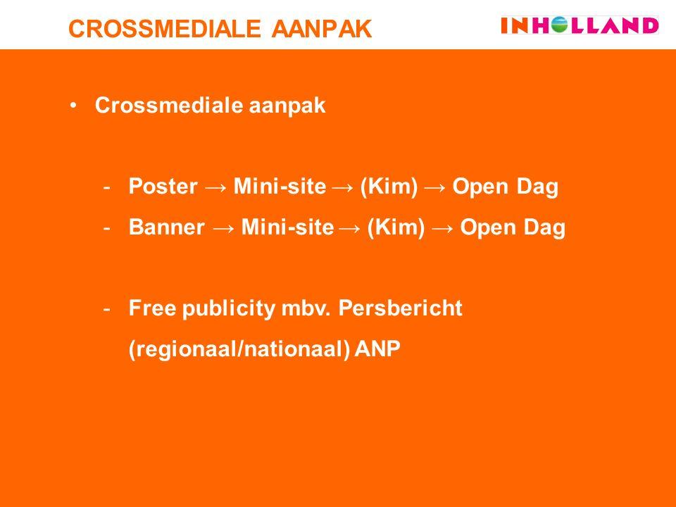 Crossmediale aanpak -Poster → Mini-site → (Kim) → Open Dag -Banner → Mini-site → (Kim) → Open Dag -Free publicity mbv.