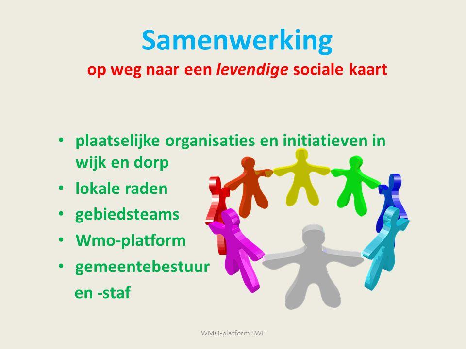 Samenwerking op weg naar een levendige sociale kaart plaatselijke organisaties en initiatieven in wijk en dorp lokale raden gebiedsteams Wmo-platform