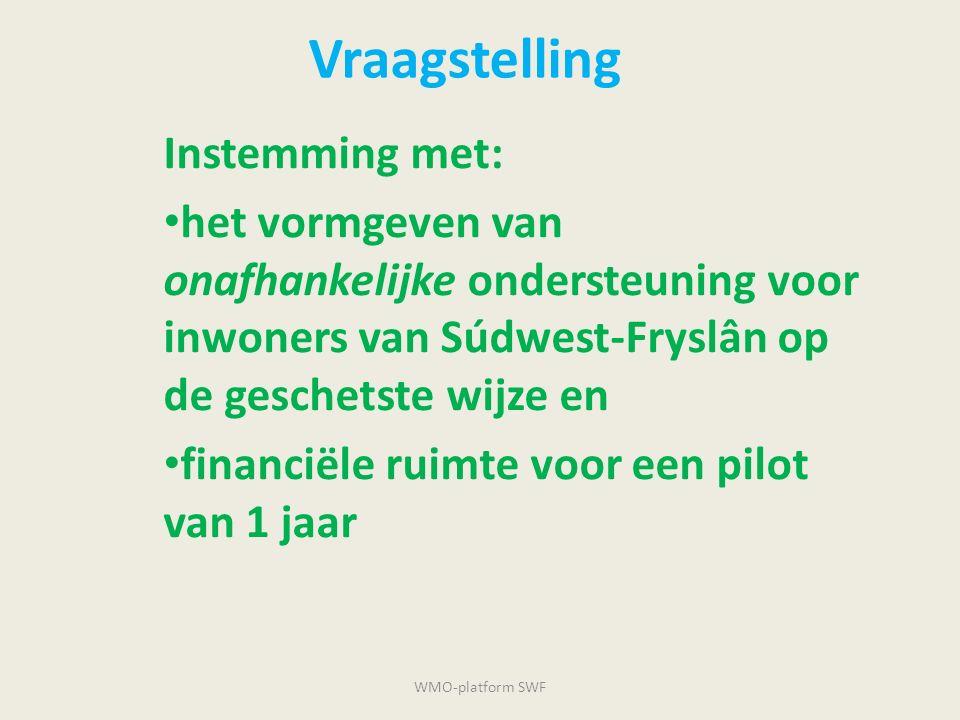 Vraagstelling Instemming met: het vormgeven van onafhankelijke ondersteuning voor inwoners van Súdwest-Fryslân op de geschetste wijze en financiële ru
