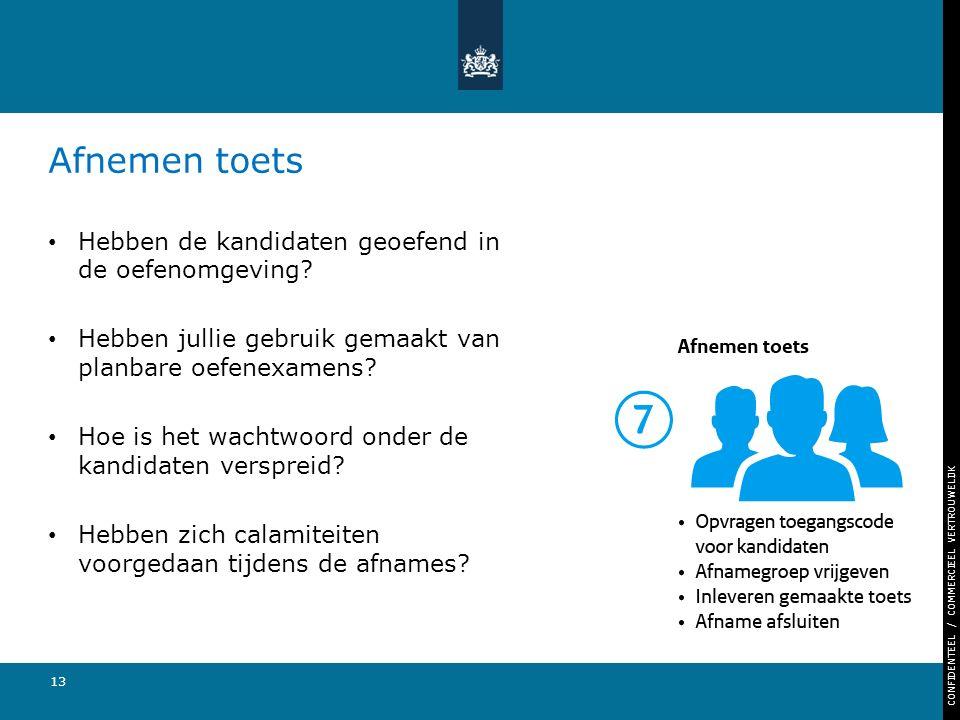 CONFIDENTEEL / COMMERCIEEL VERTROUWELIJK 13 Afnemen toets Hebben de kandidaten geoefend in de oefenomgeving.