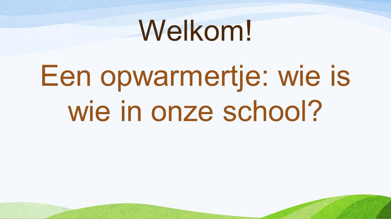 Welkom! Een opwarmertje: wie is wie in onze school?