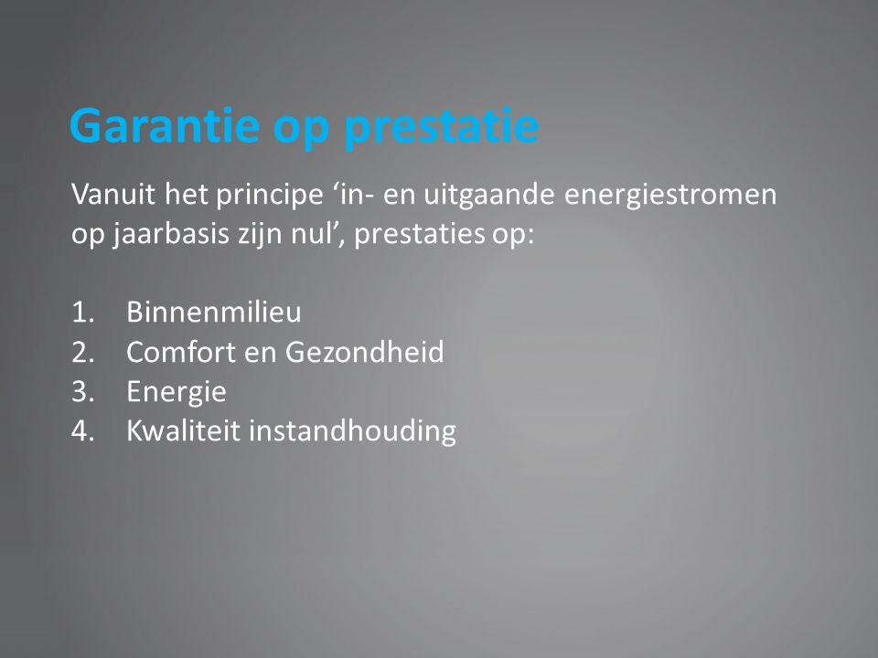 Garantie op prestatie Vanuit het principe 'in- en uitgaande energiestromen op jaarbasis zijn nul', prestaties op: 1.Binnenmilieu 2.Comfort en Gezondheid 3.Energie 4.Kwaliteit instandhouding