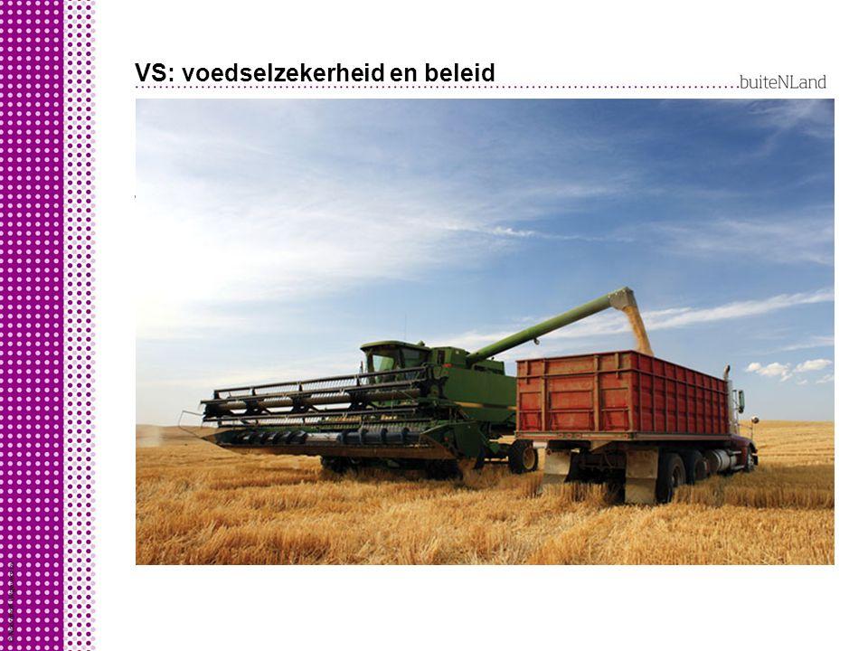 VS: voedselzekerheid en beleid VS heeft grote voedselzekerheid: veel verbouw van handels- gewassen (weinig voedingsgewassen) monoculturen exportlandbo