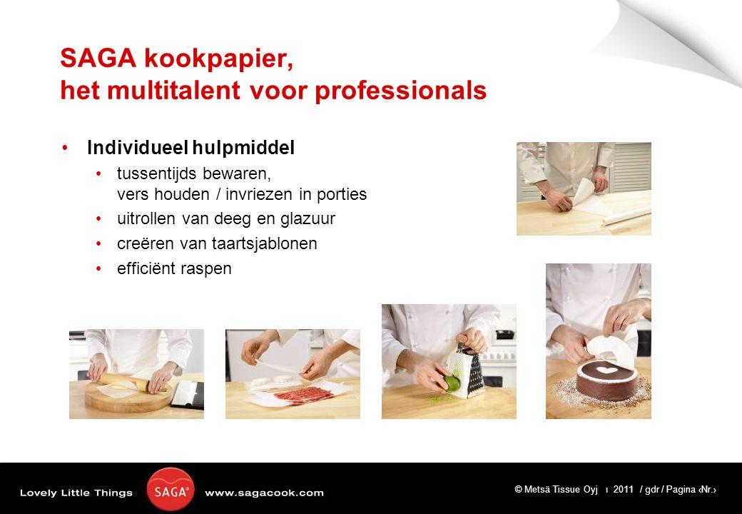 © Metsä Tissue Oyj ı 2011 / gdr / Pagina ‹Nr.› SAGA kookpapier, het multitalent voor professionals Individueel hulpmiddel tussentijds bewaren, vers houden / invriezen in porties uitrollen van deeg en glazuur creëren van taartsjablonen efficiënt raspen
