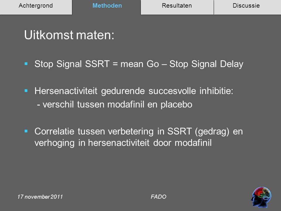 AchtergrondMethodenDiscussieResultaten 17 november 2011 FADO  Geen effect van modafinil op SSRT  Wel correlatie tussen SSRT op placebo en verbetering in SSRT door modafinil (r = 0.58)