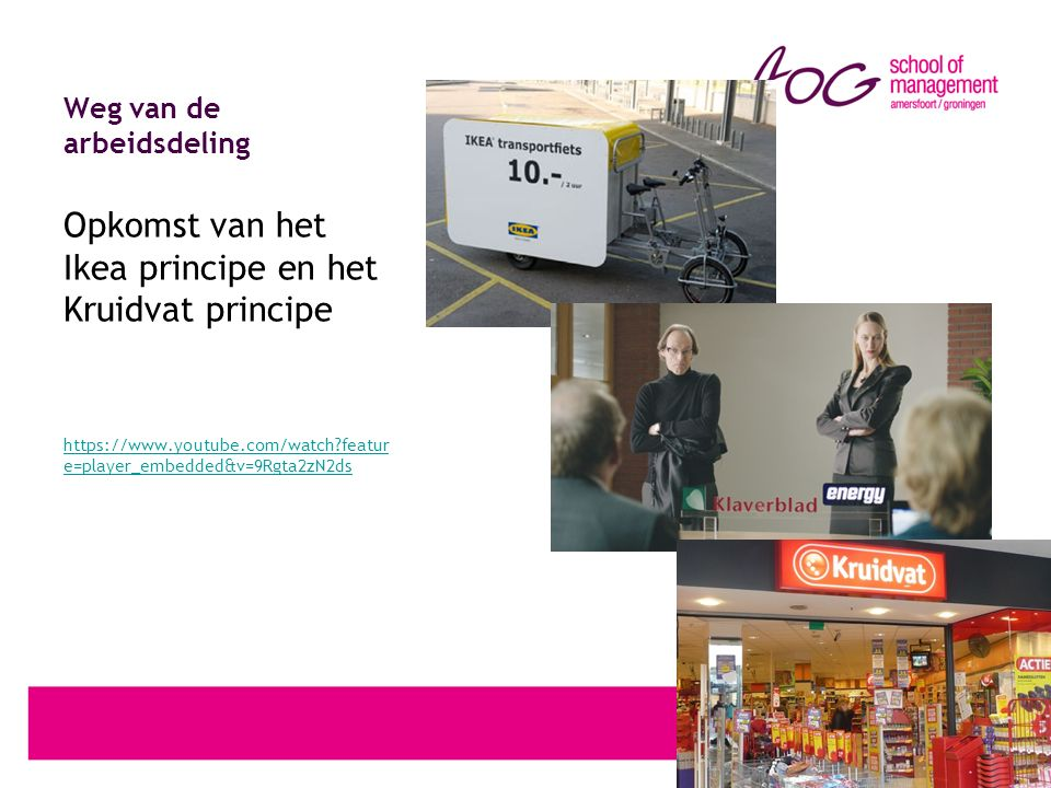 Weg van de arbeidsdeling Opkomst van het Ikea principe en het Kruidvat principe https://www.youtube.com/watch featur e=player_embedded&v=9Rgta2zN2ds