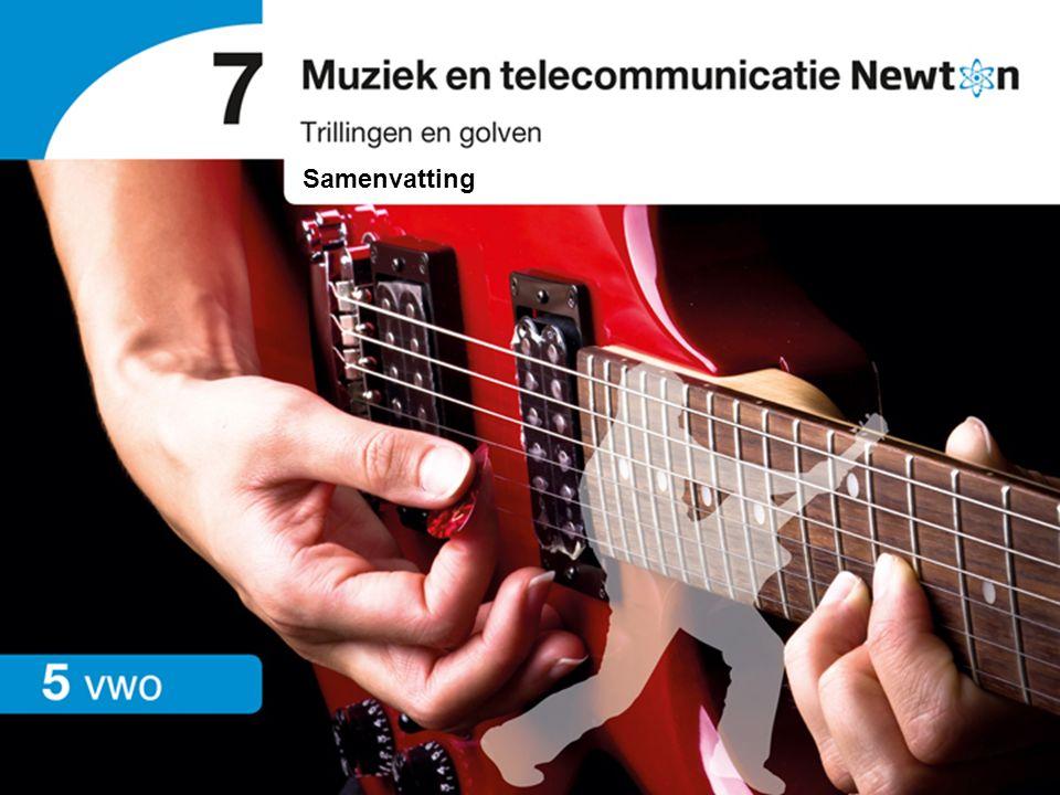 Trillingen en golven   vwo   Samenvatting 7 Muziek en telecommunicatie Trillingen De frequentie van een geluidsbron is het aantal trillingen per seconde.