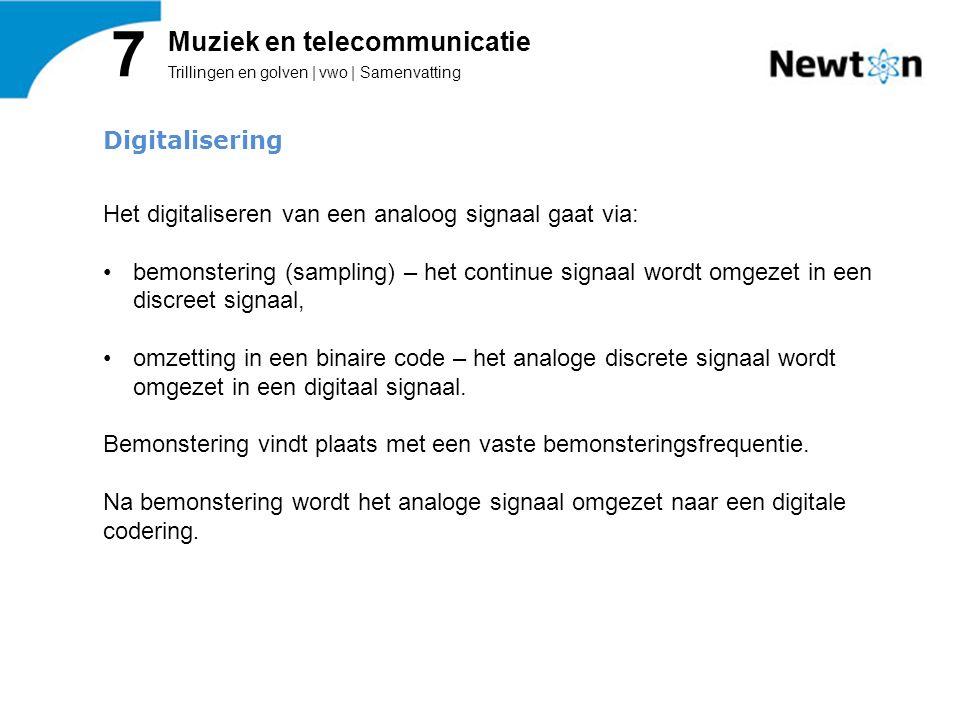 Trillingen en golven | vwo | Samenvatting 7 Muziek en telecommunicatie Digitalisering Het digitaliseren van een analoog signaal gaat via: bemonstering